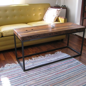 Cube style coffee table with reclaimed pine beam top