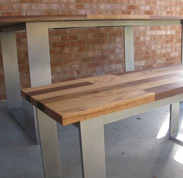 Dining Table And Matching Bench - Mixed Hardwood Top With Powder-Coated Steel Base