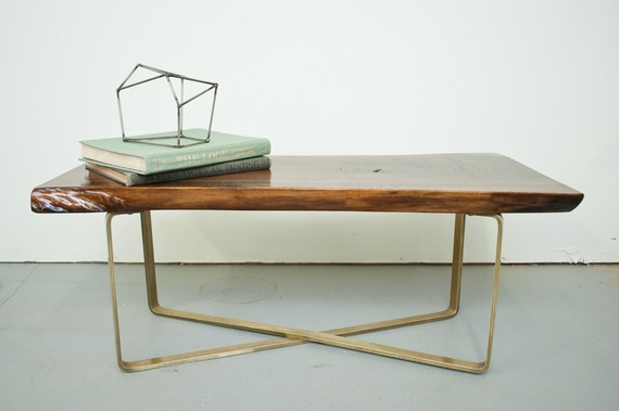 Live Edge Brass Base Coffee Table by Analog Design Company