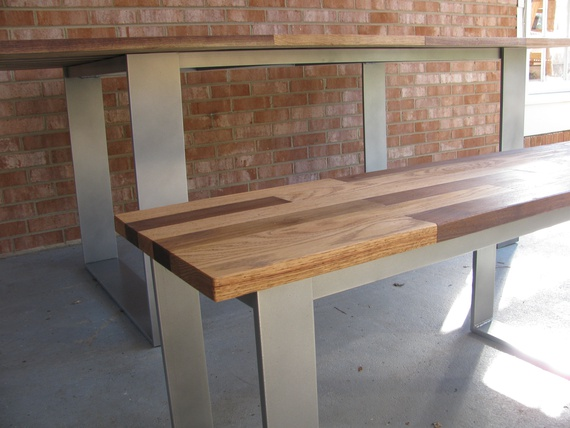 dining table and matching bench mixed hardwood top with powder rh makersalley com