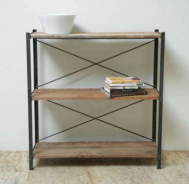 Reclaimed Wood Industrial Console Bookcase
