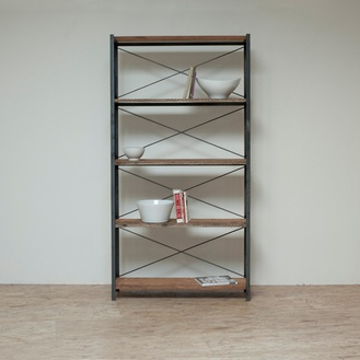 Reclaimed Wood Industrial Bookcase